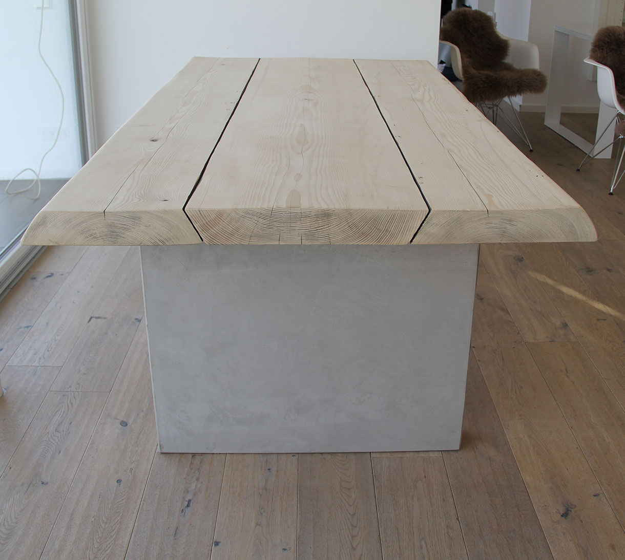 Wohnzimmertisch Beton und Holz